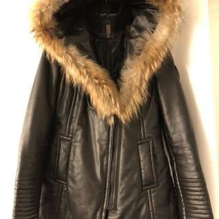 Rudsak size small- all leather jacket winter black with fox fur