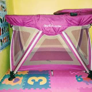 Giant carrier playpen crib in pure stainless steel with changing pad bed and detachable swing bed so that it can be used for 0-3years old original price is 11k barely used!