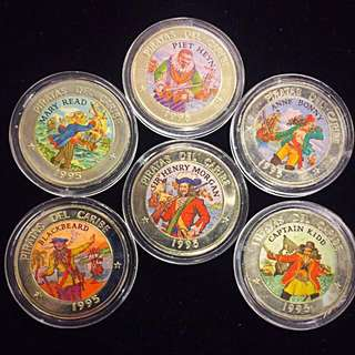 1995 Cuba 'Pirates of the Caribbean' 1 Peso Cupronickel 6-Pieces Coin Set.