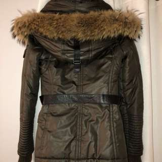 Rudsak khaki and black leather with fox fur size small