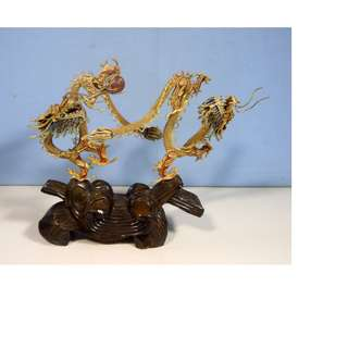 Vintage fine cloisonne hand made woven gold wire dragons pair stand circa 1950s
