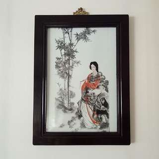 Republic Period Porcelain Plaque with frame size 44x33cm perfect