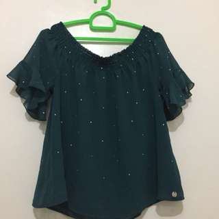 Guess green offshoulder top