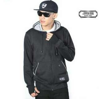 jaket zipper hoodie hitam polos