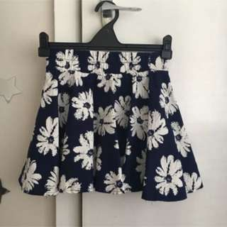 Blue/ Floral Cute Skater Skirt