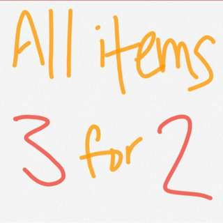 ALL ITEMS 3 FOR 2. Cant br used in conjunction with any other sale deal *cheapest item free