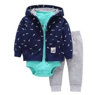 3pcs Bebes Cotton Full Rushed Direct Selling 3pcs/lot Baby Boy's Jacket Trousers T-shirt Boy Fashion Girl Suit Boy's Tights Clothes