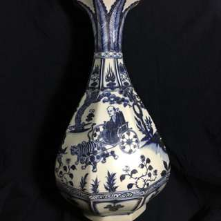 Yuan dynasty Blue n White big vase decorated with historical human characters . Vase is authentic Yuen Era with fine artwork. Base marked 古相博陖第。非常到元代古瓷。S$800,000. 可以商議。