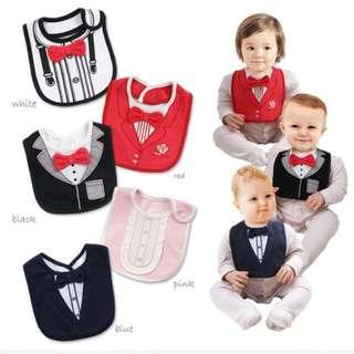 1pc Baby Bibs 3 Layers Waterproof Babys Tuxedo Bibs Kids Dinner Feeding Bib Saliva Towel Child Red Bow Tie Gentleman Baberos
