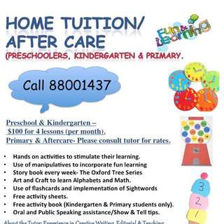 Kindergarten and Primary tuition