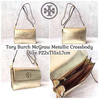 Authentic Tory Burch McGraw Metallic Crossbody (FREE ONGKIR)