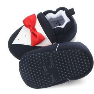Tie Design Infant Toddler First Walkers Baby Shoes Round Toe Flats Soft Shoes Baby Boy Girl Soft Soled Non-slip Footwear