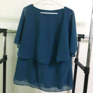 Turquoise Top with Butterfly sleeves