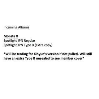 [Incoming] Monsta X Spotlight Regular and Type B