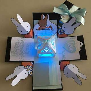 Miffy valentine Explosion box with lighthouse, 4 waterfall in black, white , blue