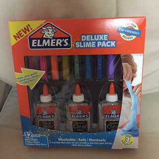 BN sealed Authentic Elmer's Deluxe slime pack Consist of 3 clear glue (147mls each) & 9 glitter glue pens (10.5ml each)