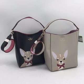 Kate spade 2018 puppy design bucket bag / sling bag / Crossbody bag
