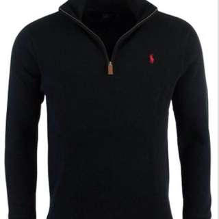 RALPH LAUREN POLO black KNIT zip LARGE L like new