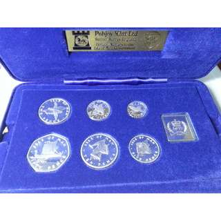 Rare 1977 Isle of Man Proof Silver Coin Set with 40 pound note