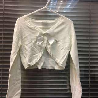 CIRAF - 女童米白色短身長袖針織外套 - 清倉貨品 (全新,但有少許瑕疵)
