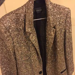 Zadig & Voltaire gold sequin blazer for women