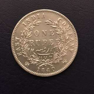 1840 British India One Rupee Silver Coin