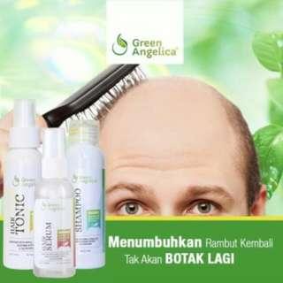 Paket lengkap Green Angelica Penumbuh rambut Botak & penebal rambut tipis mengatasi kerusakan pada rambut BPOM