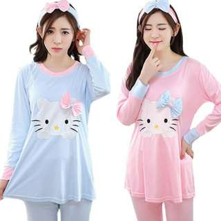 HELLO KITTY LONG SLEEVE MATERNITY + NURSING CONFINEMENT SET / SLEEP WEAR