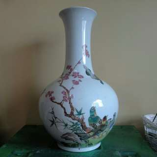 "Antique 15.5"" tall white vase with beautiful and intricate drawings"