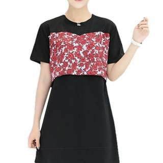 FLOWER DESIGN SHORT SLEEVE MATERNITY + NURSING DRESS