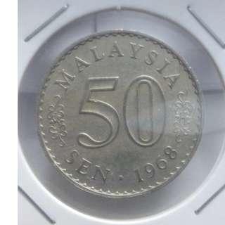 (CN 0002-1) 1968 Malaysia 50 Cents