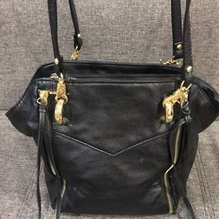 2-Way Fringe Bag in Black