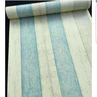 Wallpaper motif kayu biru kuning keren