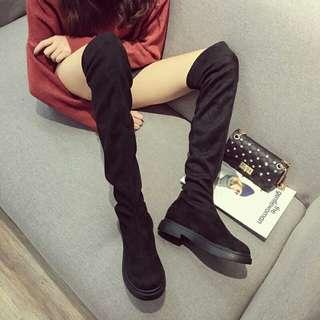 過膝長靴女秋冬季新款刷毛韓版高跟高筒靴百搭顯瘦粗跟長筒靴