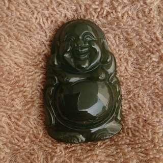Burmese Jade (Type A Jadeite) Laughing Buddha 翡翠油青弥勒佛