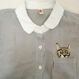Cutie Cat Stripe Shirt Korean Cute Kemeja