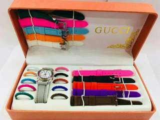 GUCCI WATCH SET 11 in 1  With Colored Strap