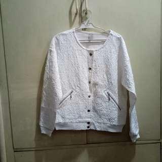 Bershka White Embossed Print Sweater