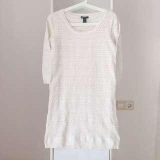 Mango Knit White Dress Baju Terusan Wanita Rajut