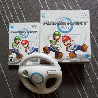 Wii Mario Kart game w wheel