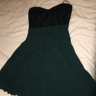 Forrest green strapless formal/ prom dress with black lace