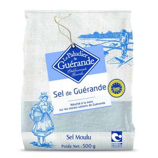 ★★★ Salt with great taste, Low in Na+ ! 富含珍貴的礦物質及微量元素 (鎂、鈣、 鐵、鉀、錳)。 給宏德《採鹽者》500公克袋裝 天然頂級 細灰海鹽(乾)《Le Paludier de Guérande》 The 1st Salt in Europe to be called P.G.I.