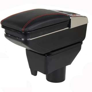 Toyota Vios 2013-2018 PVC Arm Rest Console Box Black Leather RED STITCHING (Single Layer)