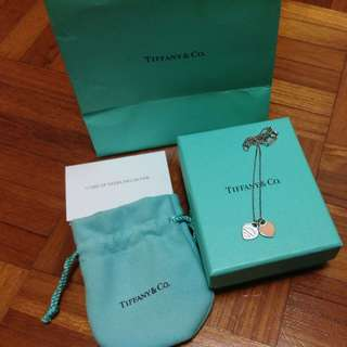 Auth Tiffany Double Heart Necklace Pink