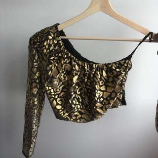 Gold leopard print crop, one shoulder