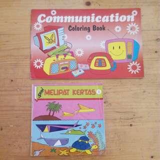 PAKET:Buku mewarnai dan origami 5ribu/2pcs