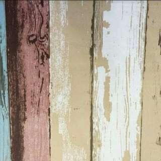Wallpaper sticker kayu warna warni