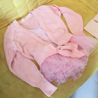 芭蕾舞套裝 連冷外套 襪褲 芭蕾舞裙 (9成新)幼稚園合穿