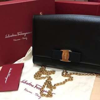 Original Salvatore Ferragamo Mini Bag Nero Printed Calf Chain shoulder bag