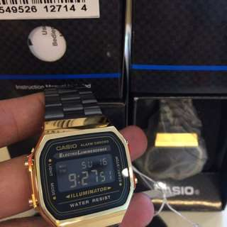 Casio Black and Gold A168WE model